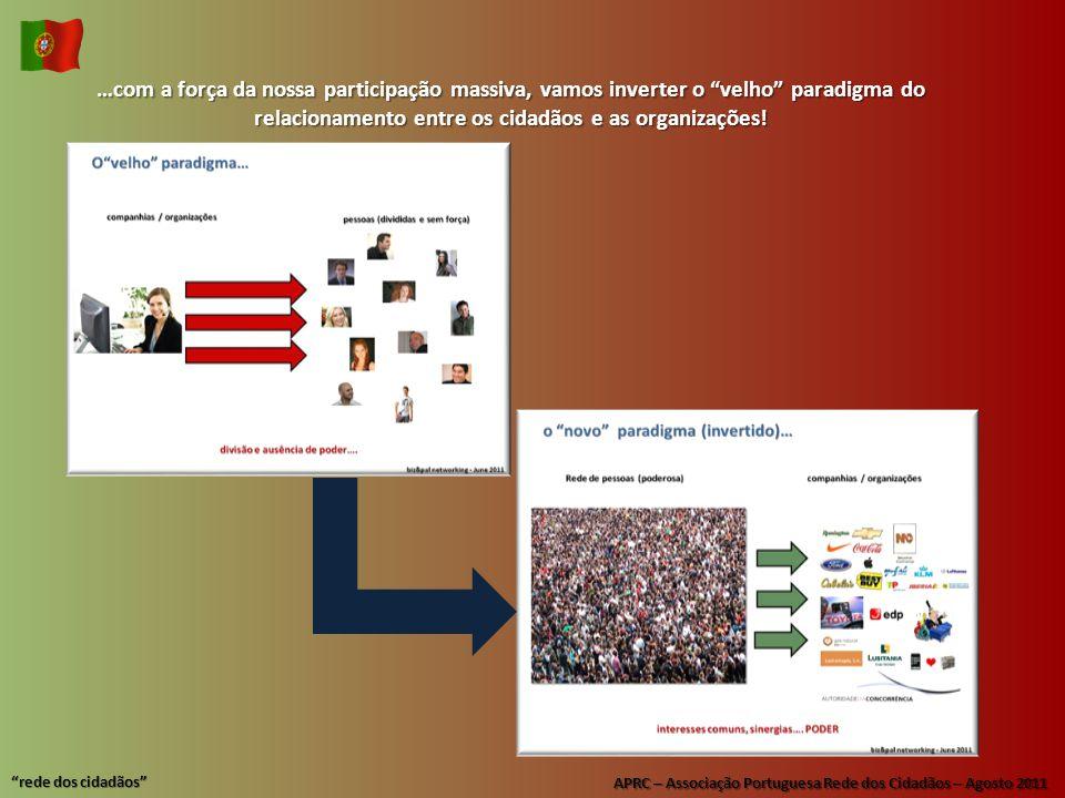 APRC – Associação Portuguesa Rede dos Cidadãos – Agosto 2011 rede dos cidadãos …com a força da nossa participação massiva, vamos inverter o velho paradigma do relacionamento entre os cidadãos e as organizações!