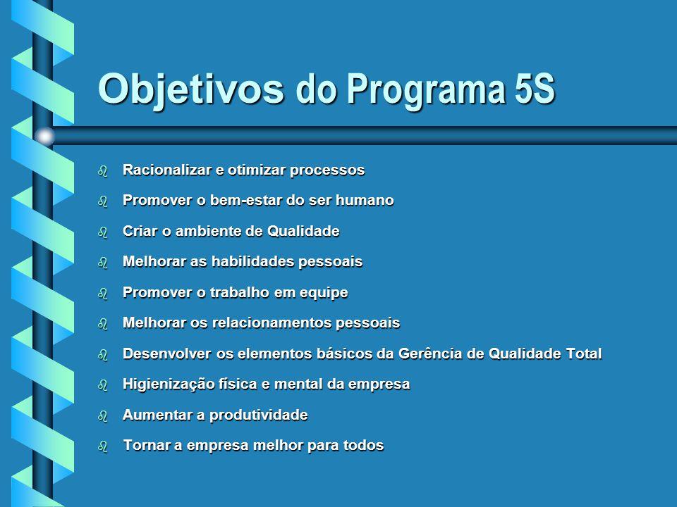 Objetivos do Programa 5S b Racionalizar e otimizar processos b Promover o bem-estar do ser humano b Criar o ambiente de Qualidade b Melhorar as habili