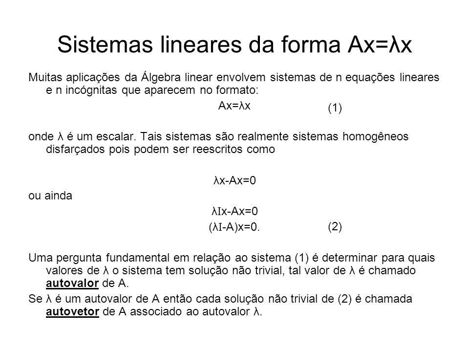 Sistemas lineares da forma Ax=λx Muitas aplicações da Álgebra linear envolvem sistemas de n equações lineares e n incógnitas que aparecem no formato: