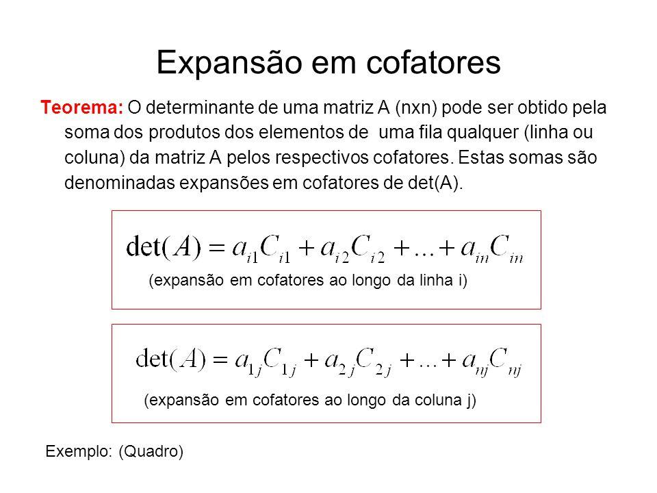 Expansão em cofatores Teorema: O determinante de uma matriz A (nxn) pode ser obtido pela soma dos produtos dos elementos de uma fila qualquer (linha o