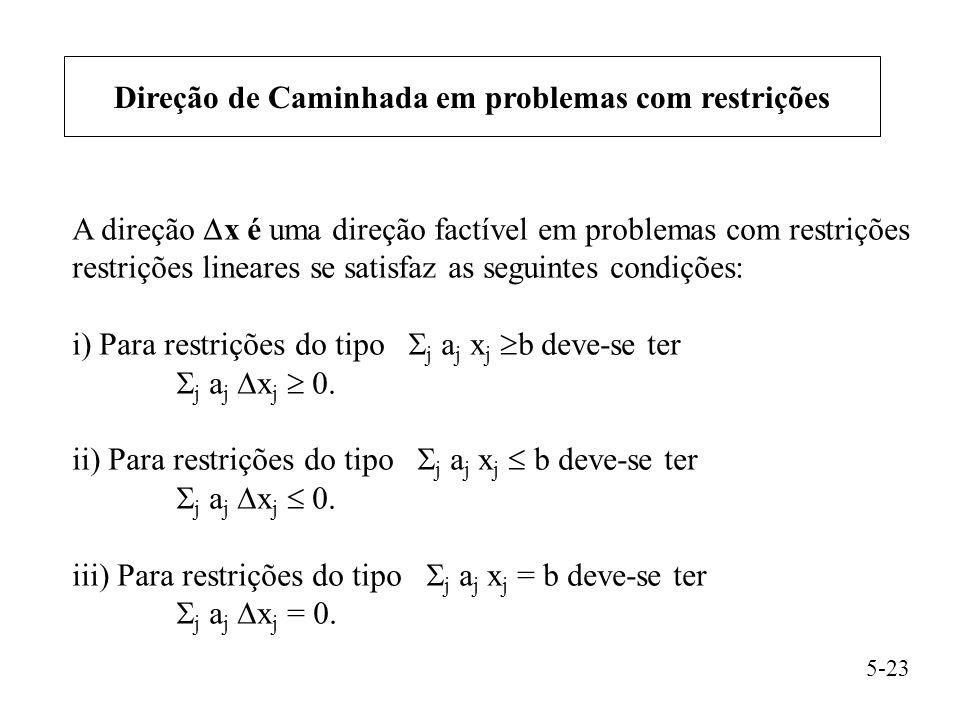 Direção de Caminhada em problemas com restrições A direção  x é uma direção factível em problemas com restrições restrições lineares se satisfaz as seguintes condições: i) Para restrições do tipo  j a j x j  b deve-se ter  j a j  x j  0.