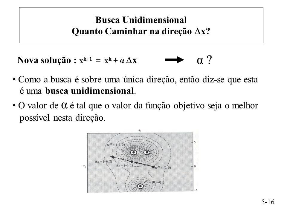 Busca Unidimensional Quanto Caminhar na direção  x.