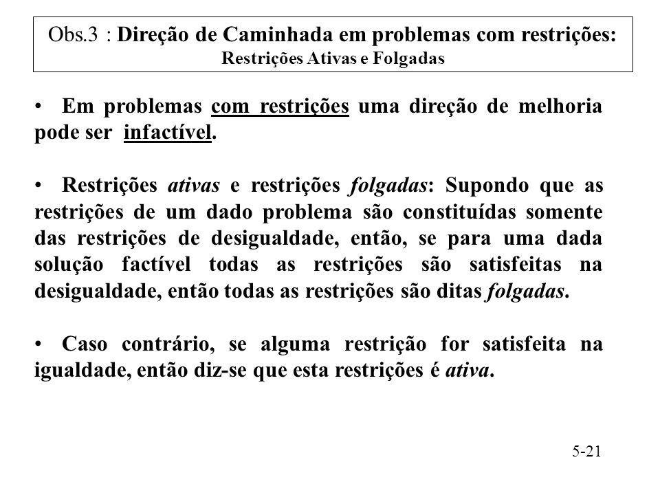 Obs.3 : Direção de Caminhada em problemas com restrições: Restrições Ativas e Folgadas Em problemas com restrições uma direção de melhoria pode ser infactível.