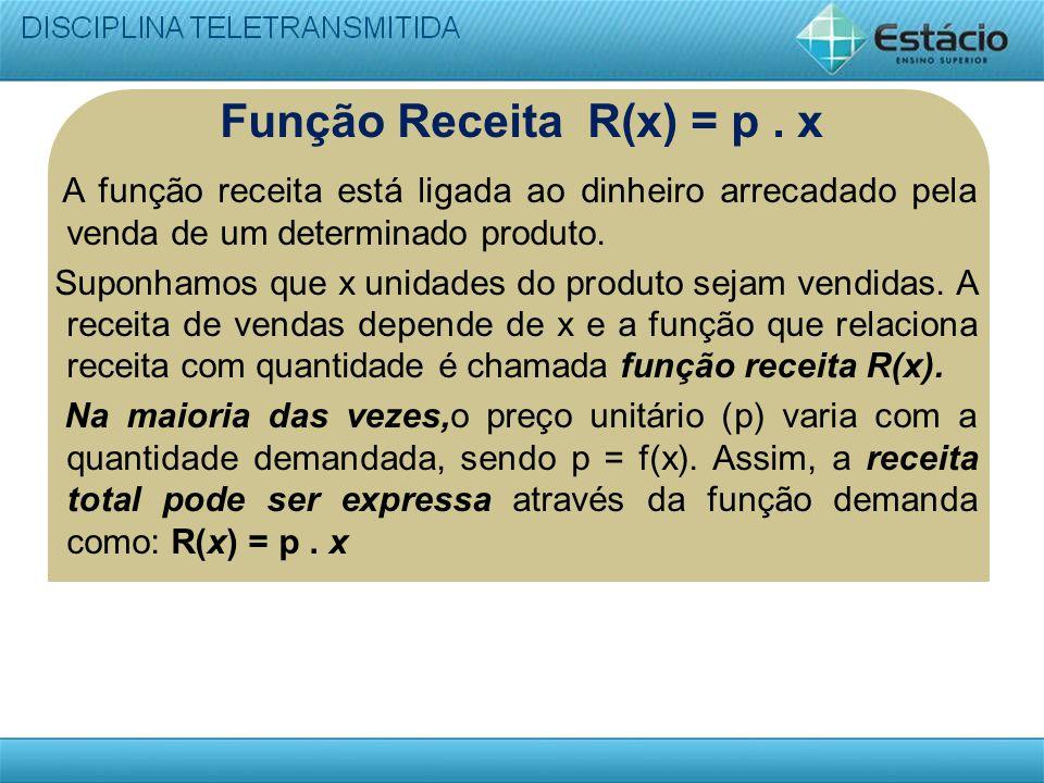 Função Receita R(x) = p. x A função receita está ligada ao dinheiro arrecadado pela venda de um determinado produto. Suponhamos que x unidades do prod