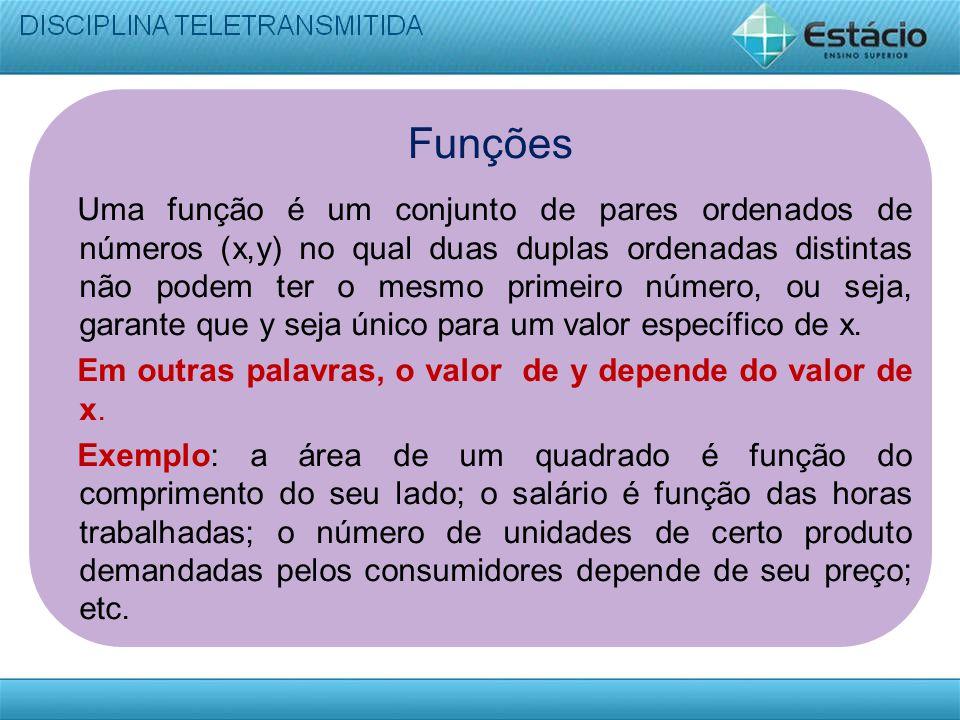 Funções Uma função é um conjunto de pares ordenados de números (x,y) no qual duas duplas ordenadas distintas não podem ter o mesmo primeiro número, ou