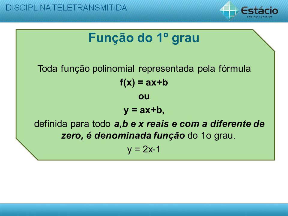 Função do 1º grau Toda função polinomial representada pela fórmula f(x) = ax+b ou y = ax+b, definida para todo a,b e x reais e com a diferente de zero