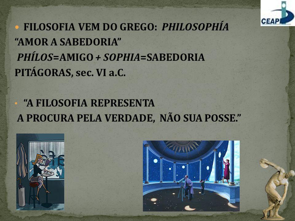 """FILOSOFIA VEM DO GREGO: PHILOSOPHÍA """"AMOR A SABEDORIA"""" PHÍLOS=AMIGO + SOPHIA=SABEDORIA PITÁGORAS, sec. VI a.C. """"A FILOSOFIA REPRESENTA A PROCURA PELA"""