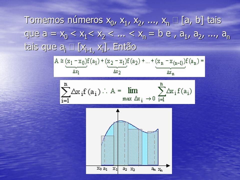Tomemos números x 0, x 1, x 2,..., x n  [a, b] tais que a = x 0 < x 1 < x 2 <... < x n = b e, a 1, a 2,..., a n tais que a i  [x i-1, x i ]. Então