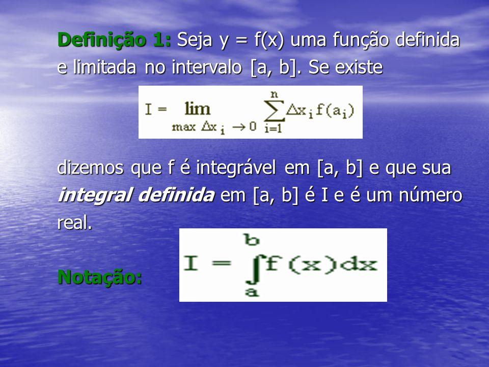 Definição 1: Seja y = f(x) uma função definida e limitada no intervalo [a, b]. Se existe e limitada no intervalo [a, b]. Se existe dizemos que f é int