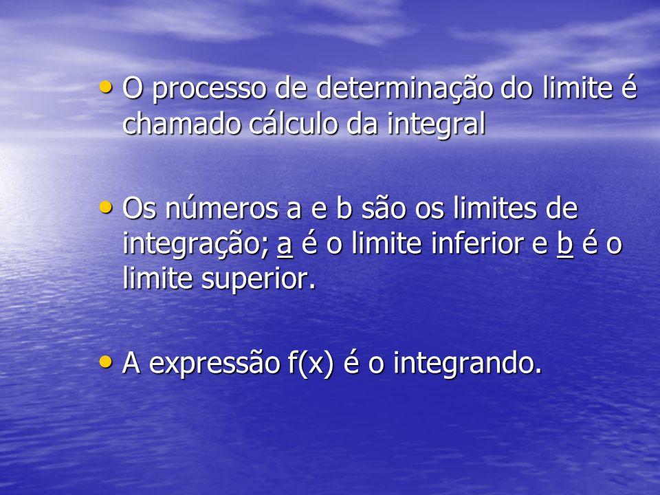 O processo de determinação do limite é chamado cálculo da integral O processo de determinação do limite é chamado cálculo da integral Os números a e b