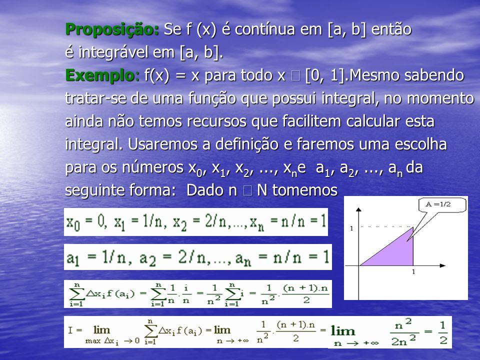 Proposição: Se f (x) é contínua em [a, b] então é integrável em [a, b]. Exemplo: f(x) = x para todo x  [0, 1].Mesmo sabendo tratar-se de uma função q