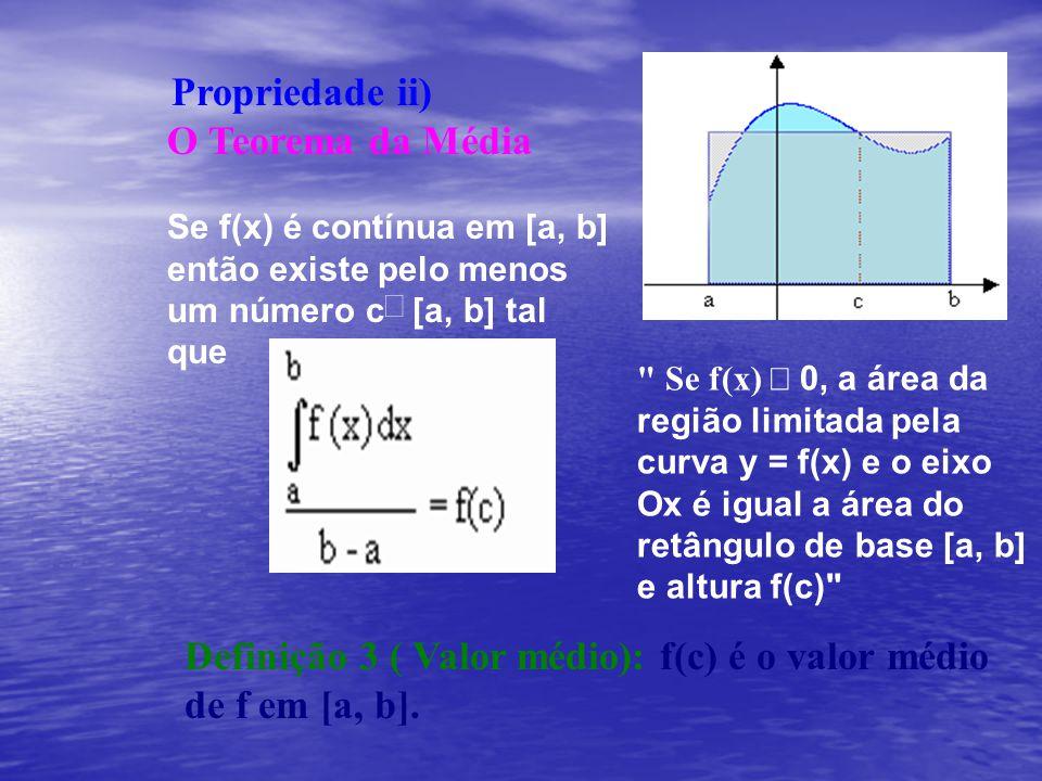 Propriedade ii) O Teorema da Média Se f(x) é contínua em [a, b] então existe pelo menos um número c [a, b] tal que
