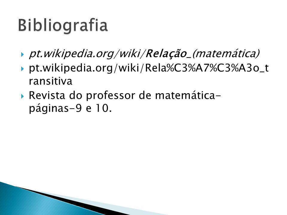 ppt.wikipedia.org/wiki/Relação_(matemática) ppt.wikipedia.org/wiki/Rela%C3%A7%C3%A3o_t ransitiva RRevista do professor de matemática- páginas-9 e 10.