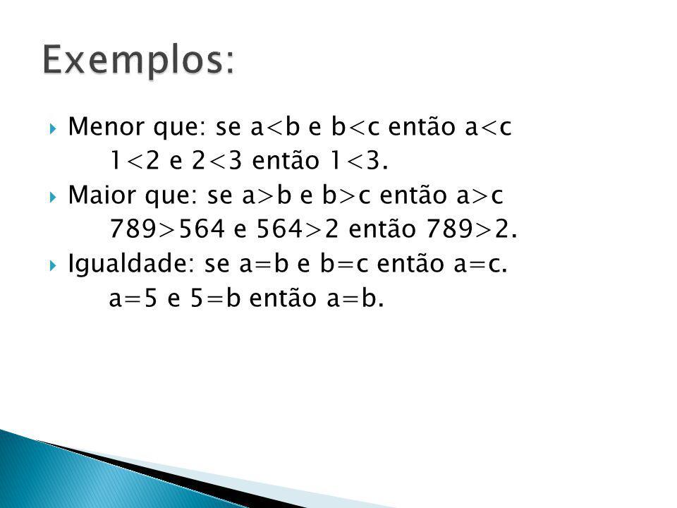  Menor que: se a<b e b<c então a<c 1<2 e 2<3 então 1<3.