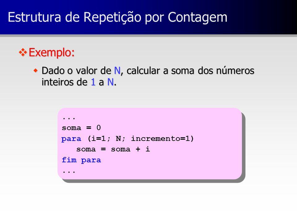 ... soma = 0 para (i=1; N; incremento=1) soma = soma + i fim para... soma = 0 para (i=1; N; incremento=1) soma = soma + i fim para... Estrutura de Rep