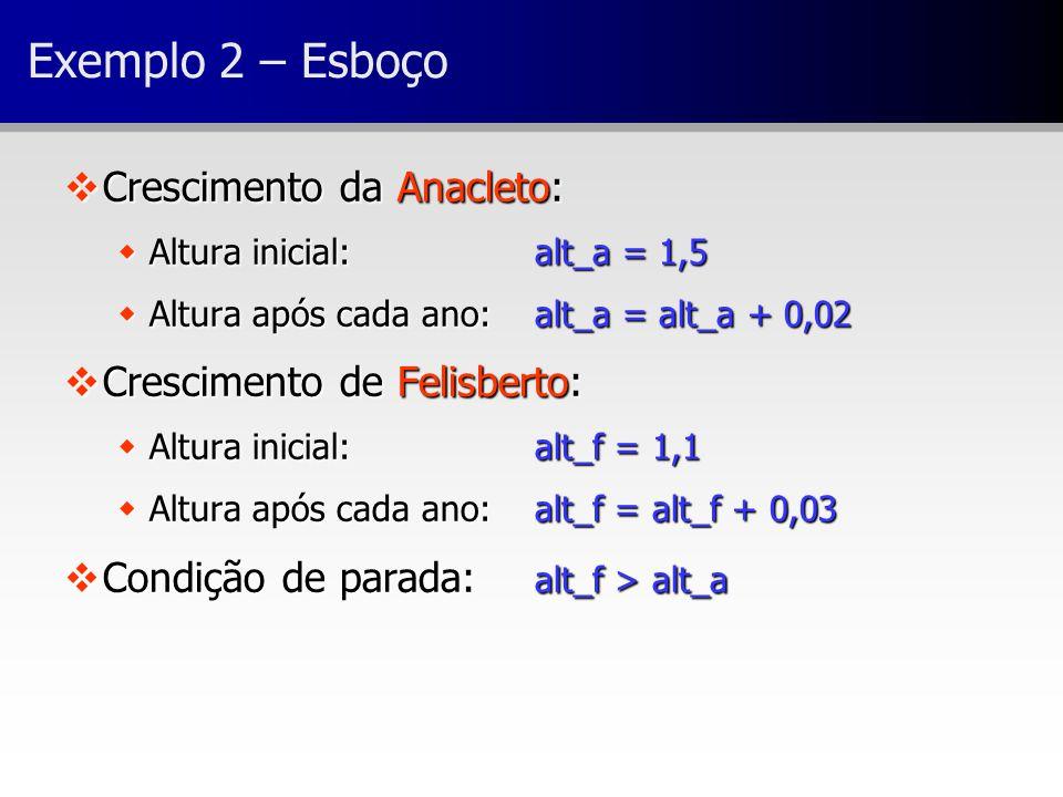 Exemplo 2 – Esboço vCrescimento da Anacleto: wAltura inicial:alt_a = 1,5 wAltura após cada ano:alt_a = alt_a + 0,02 vCrescimento de Felisberto: wAltur
