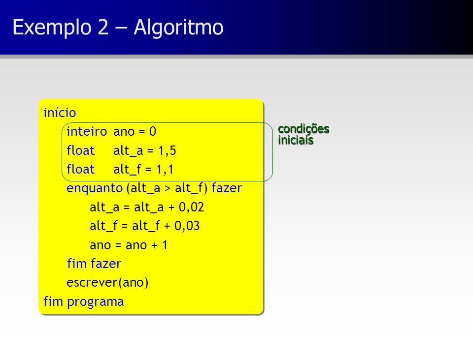 Exemplo 2 – Algoritmo início inteiro ano = 0 floatalt_a = 1,5 float alt_f = 1,1 enquanto (alt_a > alt_f) fazer alt_a = alt_a + 0,02 alt_f = alt_f + 0,