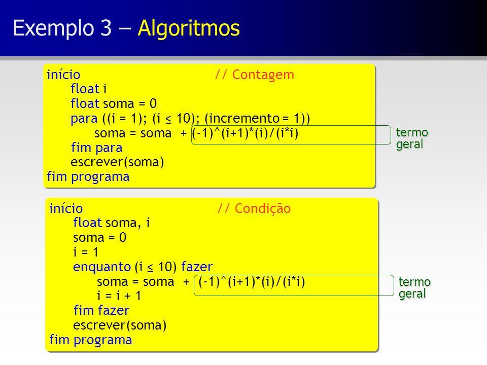 Exemplo 3 – Algoritmos início// Contagem float i float soma = 0 para ((i = 1); (i ≤ 10); (incremento = 1)) soma = soma + (-1)^(i+1)*(i)/(i*i) fim para