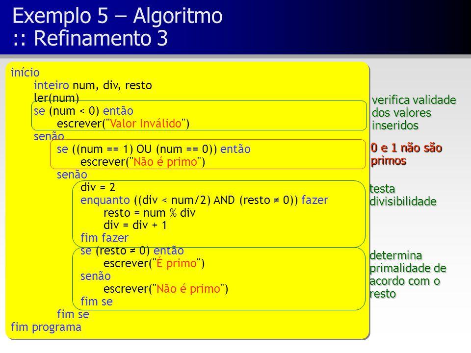 Exemplo 5 – Algoritmo :: Refinamento 3 início inteiro num, div, resto ler(num) se (num < 0) então escrever(