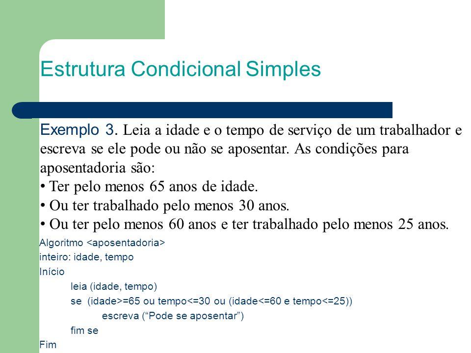 Estrutura Condicional Simples Algoritmo inteiro: idade, tempo Início leia (idade, tempo) se (idade>=65 ou tempo<=30 ou (idade<=60 e tempo<=25)) escrev