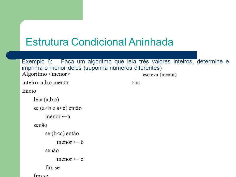 Estrutura Condicional Aninhada Exemplo 6: Faça um algoritmo que leia três valores inteiros, determine e imprima o menor deles (suponha números diferen
