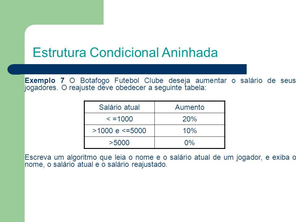Estrutura Condicional Aninhada Exemplo 7 O Botafogo Futebol Clube deseja aumentar o salário de seus jogadores. O reajuste deve obedecer a seguinte tab
