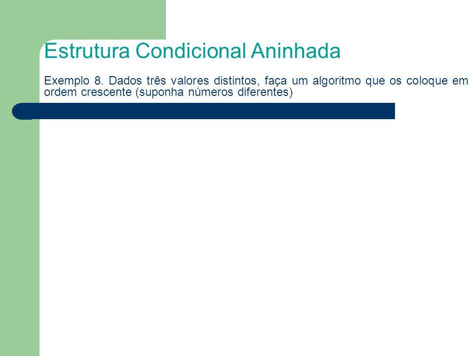 Estrutura Condicional Aninhada Exemplo 8. Dados três valores distintos, faça um algoritmo que os coloque em ordem crescente (suponha números diferente