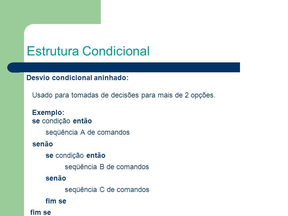 Estrutura Condicional Desvio condicional aninhado: Usado para tomadas de decisões para mais de 2 opções. Exemplo: se condição então seqüência A de com