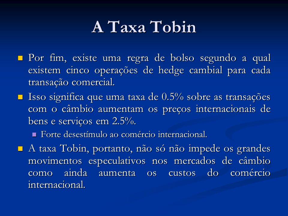A Taxa Tobin Por fim, existe uma regra de bolso segundo a qual existem cinco operações de hedge cambial para cada transação comercial. Por fim, existe
