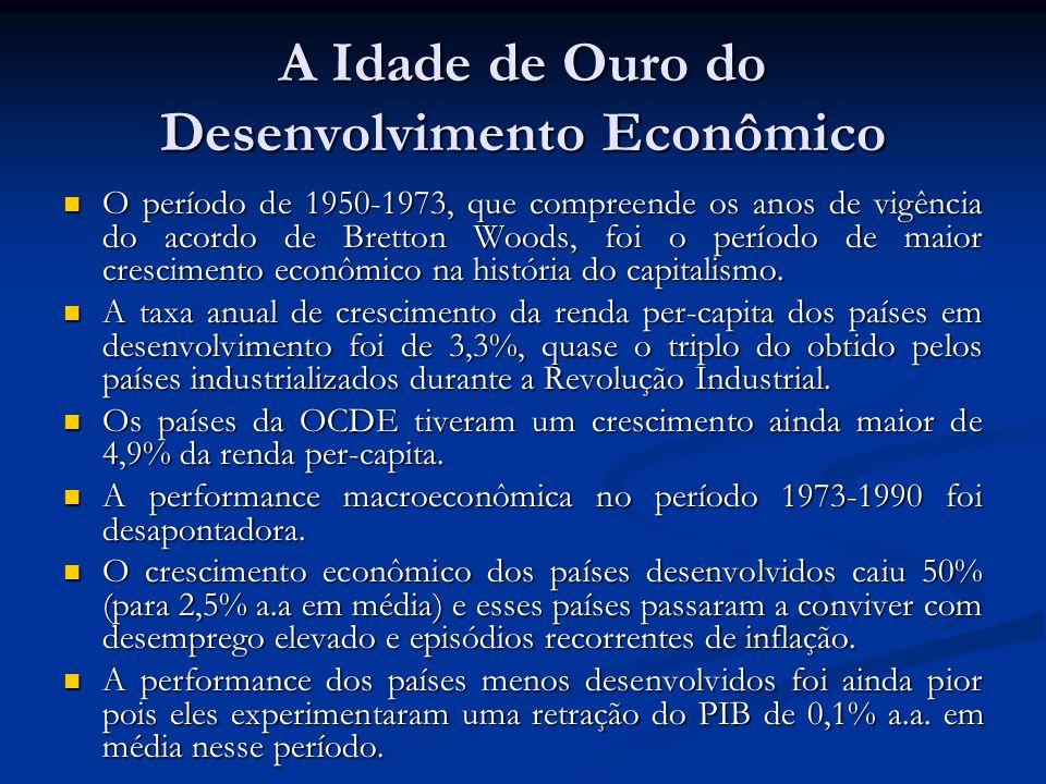 A Idade de Ouro do Desenvolvimento Econômico O período de 1950-1973, que compreende os anos de vigência do acordo de Bretton Woods, foi o período de m
