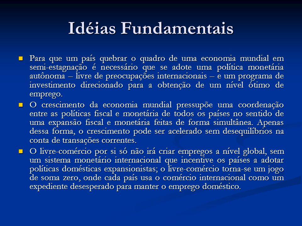 Idéias Fundamentais Para que um país quebrar o quadro de uma economia mundial em semi-estagnação é necessário que se adote uma política monetária autô