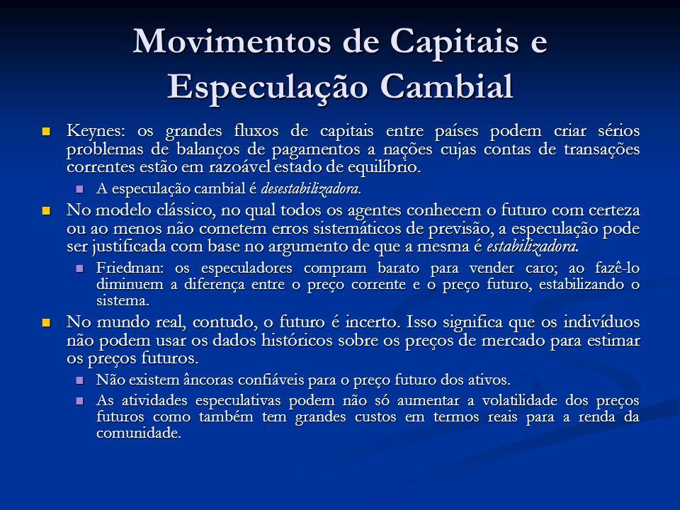 Movimentos de Capitais e Especulação Cambial Keynes: os grandes fluxos de capitais entre países podem criar sérios problemas de balanços de pagamentos