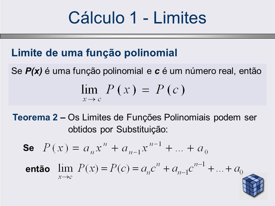 Cálculo 1 - Limites Se P(x) é uma função polinomial e c é um número real, então Limite de uma função polinomial Teorema 2 – Os Limites de Funções Polinomiais podem ser obtidos por Substituição: Se então