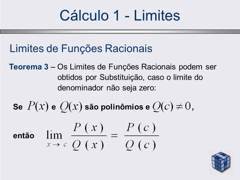 Cálculo 1 - Limites Limites de Funções Racionais Teorema 3 – Os Limites de Funções Racionais podem ser obtidos por Substituição, caso o limite do denominador não seja zero: Se e são polinômios e, então