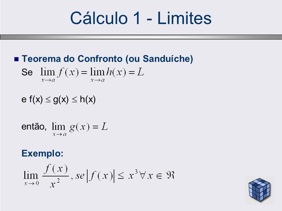Cálculo 1 - Limites Teorema do Confronto (ou Sanduíche) Se e f(x)  g(x)  h(x) então, Exemplo: