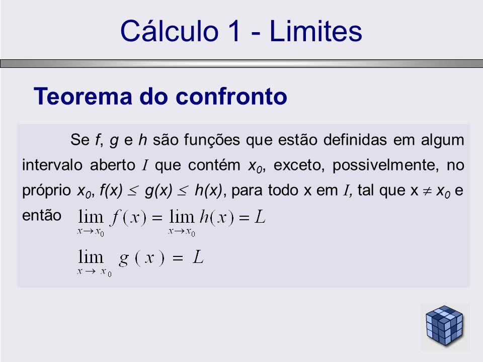 Cálculo 1 - Limites Se f, g e h são funções que estão definidas em algum intervalo aberto I que contém x 0, exceto, possivelmente, no próprio x 0, f(x)  g(x)  h(x), para todo x em I, tal que x  x 0 e então Teorema do confronto