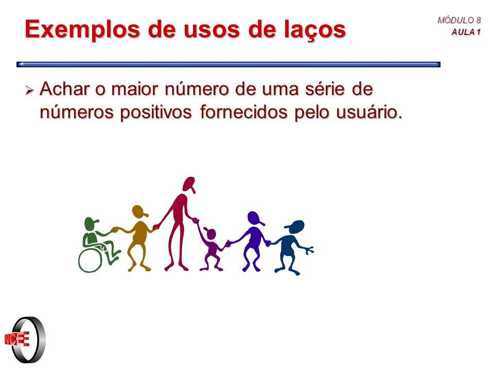MÓDULO 8 AULA 1 Exemplos de usos de laços  Achar o maior número de uma série de números positivos fornecidos pelo usuário.