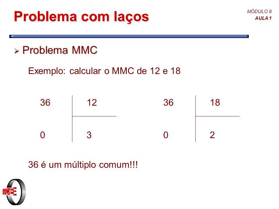 MÓDULO 8 AULA 1 Problema com laços  Problema MMC Exemplo: calcular o MMC de 12 e 18 36 é um múltiplo comum!!.