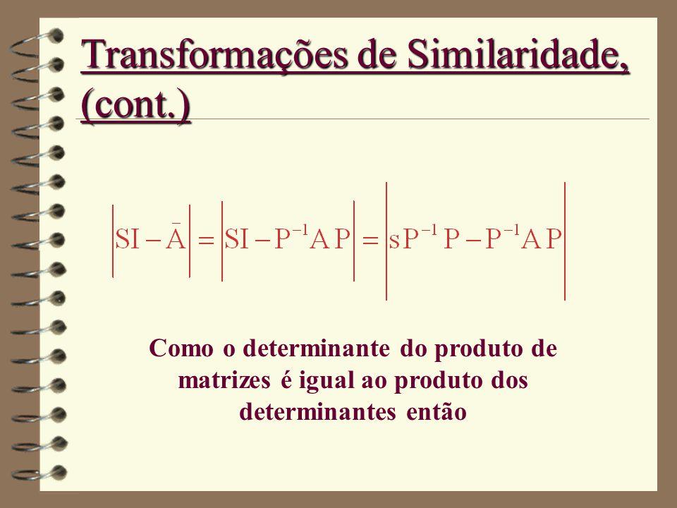 Transformações de Similaridade, (cont.) Como o determinante do produto de matrizes é igual ao produto dos determinantes então