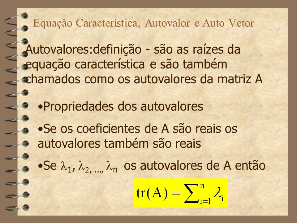 Equação Característica, Autovalor e Auto Vetor Propriedades dos autovalores ( cont.) tr(A)= soma dos autovalores de A Se i, i=1,2...n é um autovalor de A então também o será de A ' Se A é não singular, com autovalores i, i=1,2...n então 1/ i, i=1,2...n serão autovalores de A -1