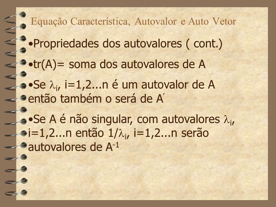 Transformações de Similaridade, (cont.) Estas transformações mantém propriedades tais como: equação característica autovalores autovetores e funções de transferência