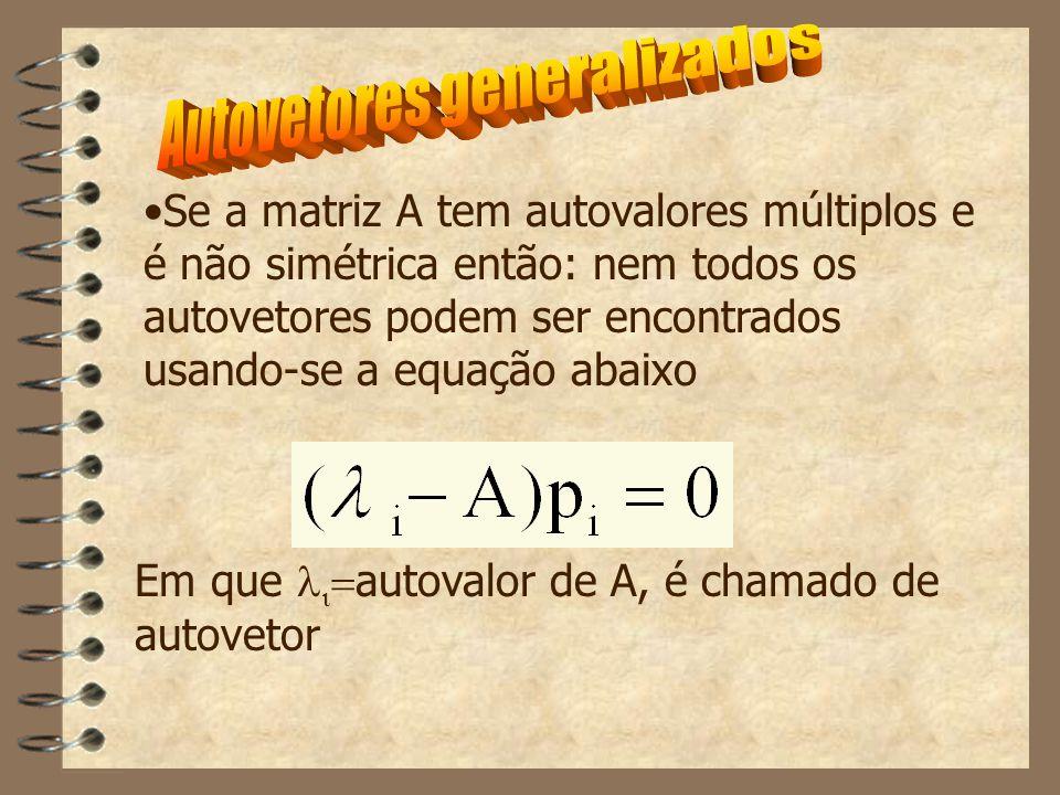 Em que   autovalor de A, é chamado de autovetor Se a matriz A tem autovalores múltiplos e é não simétrica então: nem todos os autovetores podem ser