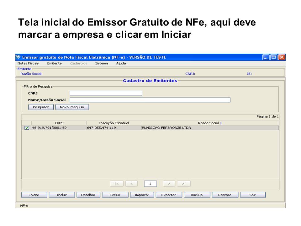 Tela inicial do Emissor Gratuito de NFe, aqui deve marcar a empresa e clicar em Iniciar