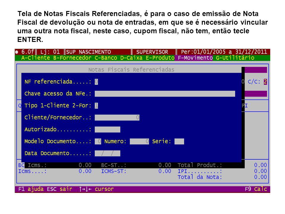 Nesta tela, teclando F7 pode incluir vários cupons fiscais, devendo no caso informar a data, cupom e ecf, assim o ADM buscará os dados dos cupons fiscais, trazendo-os para a emissão da NFe.