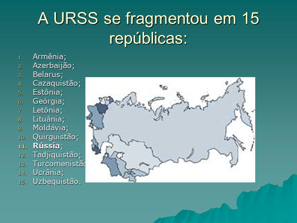 A URSS se fragmentou em 15 repúblicas: 1. Armênia; 2.