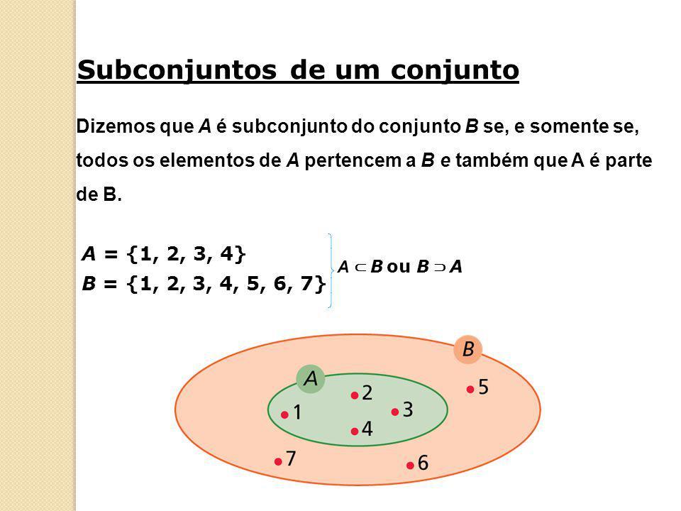 Dizemos que A é subconjunto do conjunto B se, e somente se, todos os elementos de A pertencem a B e também que A é parte de B. Subconjuntos de um conj