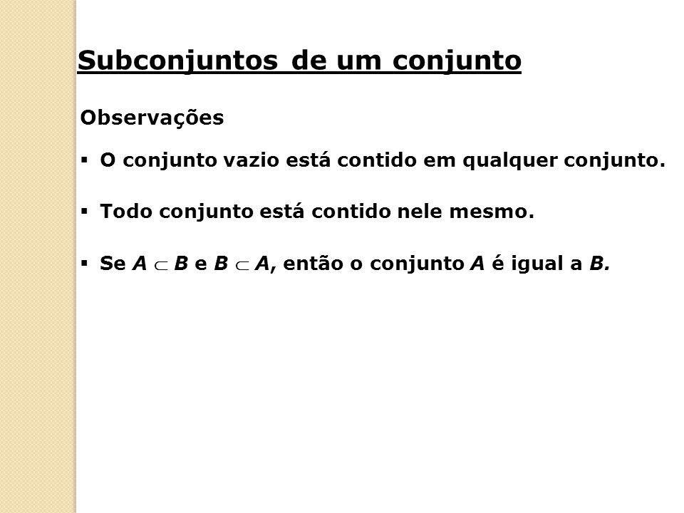 Subconjuntos de um conjunto Observações  O conjunto vazio está contido em qualquer conjunto.  Todo conjunto está contido nele mesmo.  Se A  B e B
