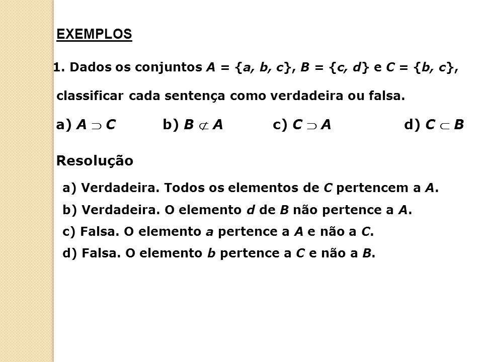1. Dados os conjuntos A = {a, b, c}, B = {c, d} e C = {b, c}, classificar cada sentença como verdadeira ou falsa. a) A  Cb) B  Ac) C  Ad) C  B a)
