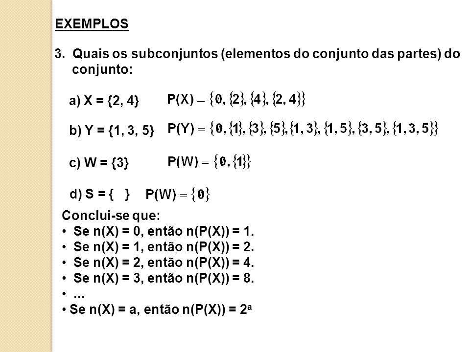 3. Quais os subconjuntos (elementos do conjunto das partes) do conjunto: a) X = {2, 4} b) Y = {1, 3, 5} c) W = {3} d) S = { } Conclui-se que: Se n(X)