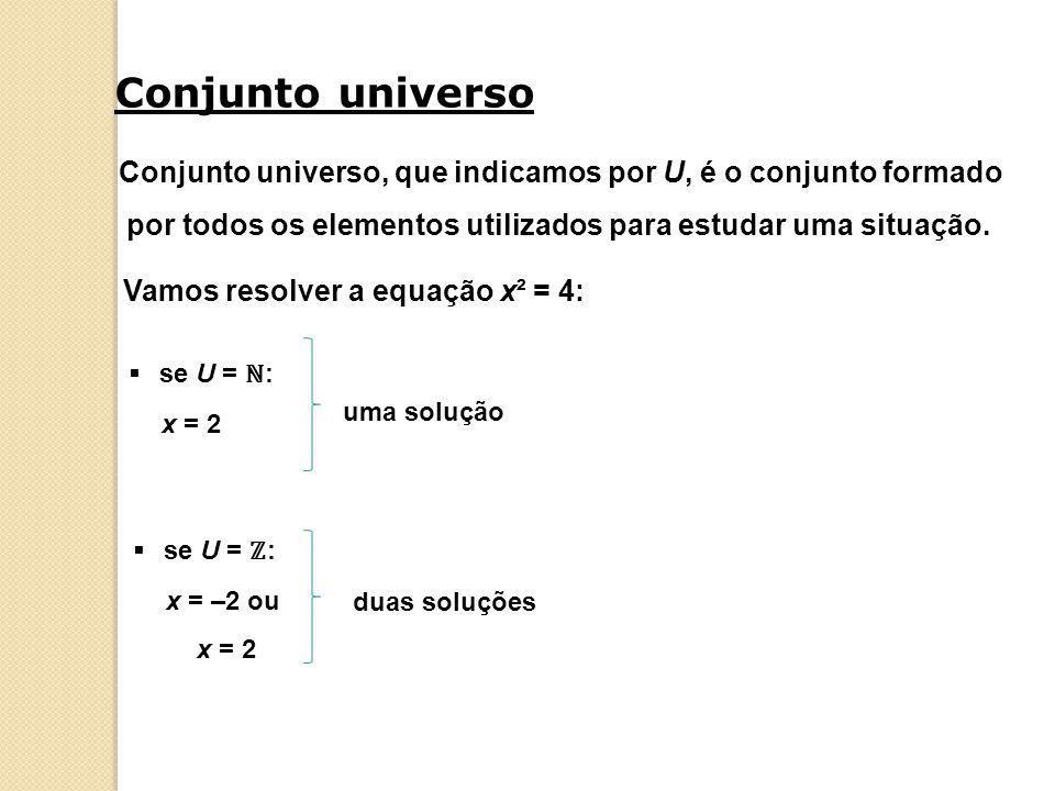 Conjunto universo Conjunto universo, que indicamos por U, é o conjunto formado por todos os elementos utilizados para estudar uma situação. Vamos reso